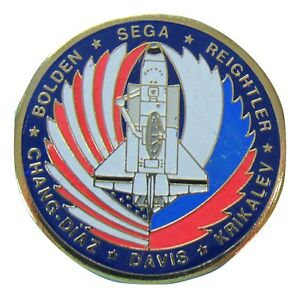 PIN enamel vtg NASA STS-60 Space Shuttle  - Sega Chang-Diaz Krikalev