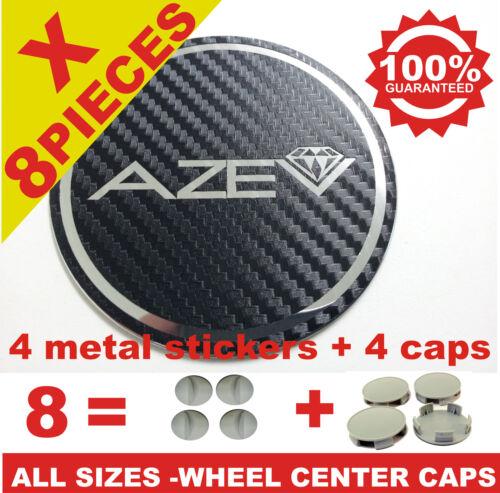 tapas llantas  wheel center caps 4 METAL STICKERS  4 CAPS AZEV CARBON