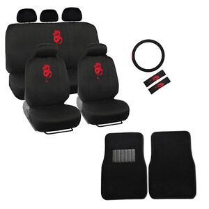 Image Is Loading New Red Dragon Car Seat Covers Steering Wheel
