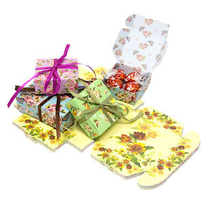 FLORAL-Vintage-Square-GIFT-BOXES-Wedding-Favour-Chocolates-Includes-Ribbon