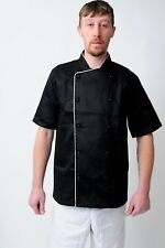 Chefs Jacket Chef White And Black With Piping Coat Chefwear Unisex Catering Food