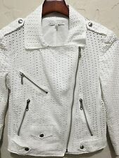 $298 REBECCA MINKOFF SIZE XS 'WES' WHITE COTTON EYELET MOTO JACKET L434