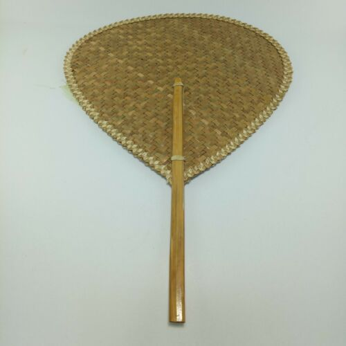 Thai bamboo hand fan handmade craft collectible decor vintage gift woven folk