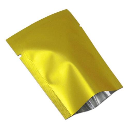 100X Matte Gold Open Top Aluminum Foil Bag Heat Seal Package Food Storage Mylar