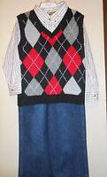 Boyz Wear 3 Pc Arygle Knit Sweater Vest Outfit Black 5