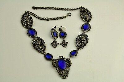 """VINTAGE BLUE GRIPOIX GLASS ART NOUVEAU LADY NECKLACE EARRING SET 21 1/2"""" LJ6821"""