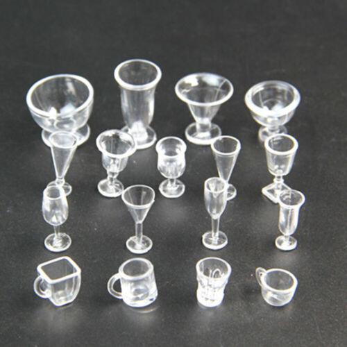 17pcs//Set Dollhouse Mini Plastic Cups Dish Plates Tableware Miniatures New R4F0