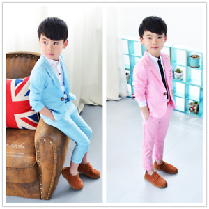 01d188843d18 2pcs Kids Baby Boys Fashion Suit Gentleman Coat+Pants Casual Suit ...