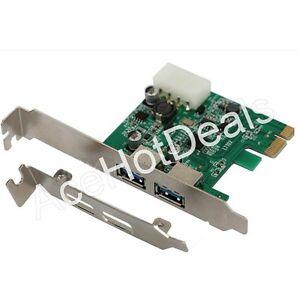 PCI-E Express USB 3.0 2 Port HUB Card Adapter w/ Low ...