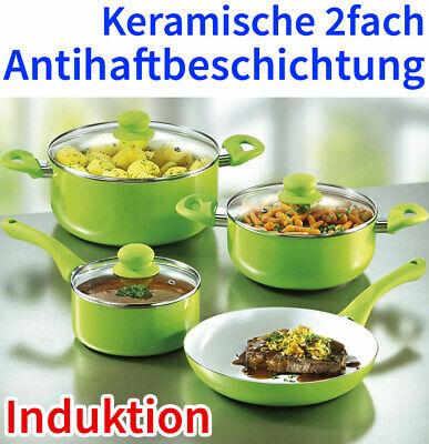 Induktion Keramik Topfset inkl 24 cm Bratpfanne 7tlg Koch Topf Set Pfanne grün !