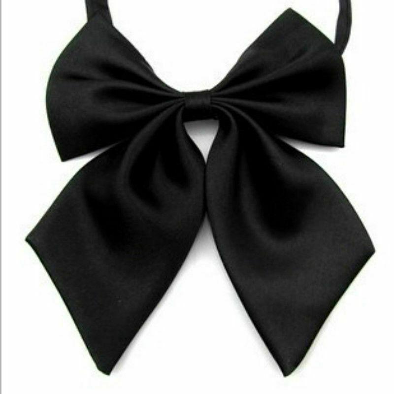2X Women Satin Silky Plain Bowknot Formal Work Uniform Bow Tie Necktie Accessory