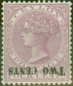 Ceylan-1888-2c-sur-4c-Rosy-Mauve-SG202a-Surch-Inverse-Fin-MTD-Excellent-Etat