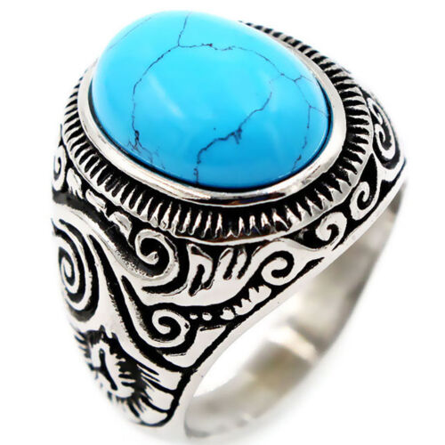 Ovaler künstlicher Türkis-Edelstahl-Antiken-Ring der Weinlese-Männer