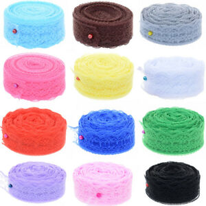 Lace-Ribbon-Roll-10-yards-lot-20mm-Wide-DIY-Embroidered-Fabric-Wedding-Party-Hot