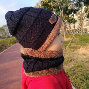 c7e5c53b0f44 Boys Winter Hats Scarf Set Knitted Hat Fleece Kids Warm Set 2 To 10 ...
