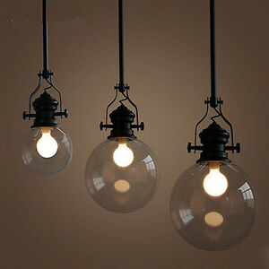 Image Is Loading Gl Ball Chandelier Vintage Pendant Lamp Ceiling