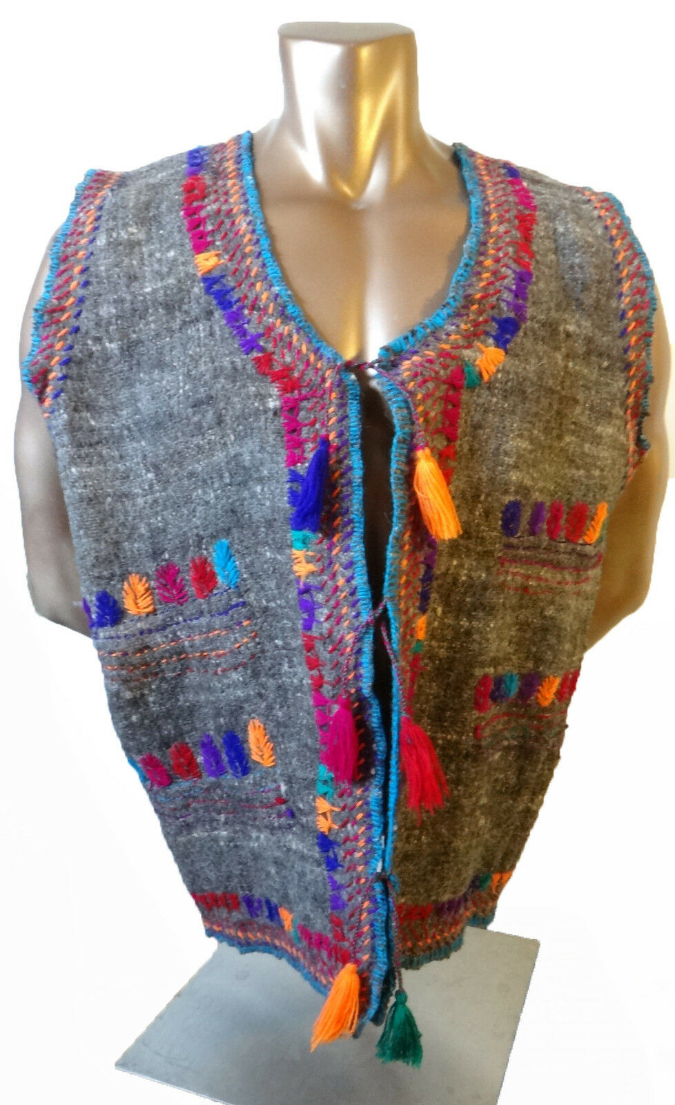 Handmade WOOL hand loomed primative native american mayan aztec 2xl 3xl rug vest