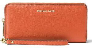 5bdc6d0dde6f Image is loading Michael-Kors-Mercer-Orange-Pebble-Leather-Travel- Continental-