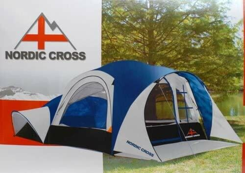 Large Nordic Cross Fast Pitch 2 room 8-Person Camping Cabin Tent with Porch EUC