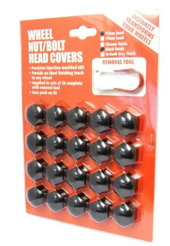 Wheel Nut Covers Fit Peugeot 107 206 207 308 407 3008 5008 17mm Black PE1086