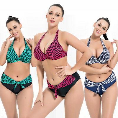Womens Ladies Two Piece Tankini Set Bikini Swimwear UK Size 14 16 18 20 22 #1077