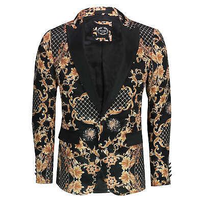 Mens Gold Floral Damask Print Black Dinner Jacket Smart Tailor Fit Retro Blazer