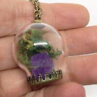 Metaphysical Terrarium Bubble Glass Pendant Necklace Purple Amethyst