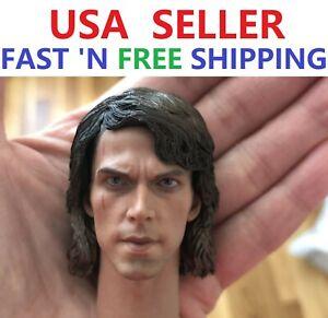 """1//6 Anakin Skywalker Star Wars Head Sculpt For 12/"""" Hot Toys Male Figure U.S.A."""
