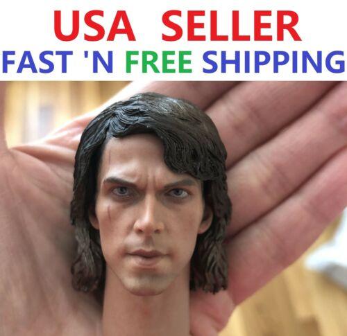 """1//6 Scale Anakin Skywalker Head Sculpt Star Wars For 12/"""" Hot Toys Figure"""