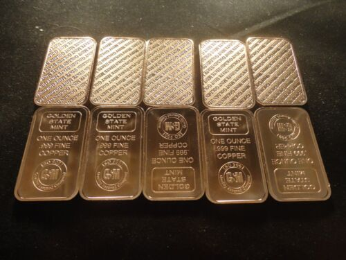 BAR COPPER 1 OUNCE BAR-LOT OF 1 GOLDEN STATE MINT .999 COPPER BULLION
