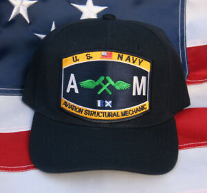 7e08f01339c AM AVIATION STRUCTURAL MECHANIC RATING HAT PATCH US NAVY SEABEES PIN ...