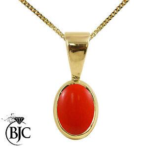 BJC-9ct-Oro-Amarillo-Natural-Melocoton-Coral-Solitario-Forma-De-Gota-ovalo