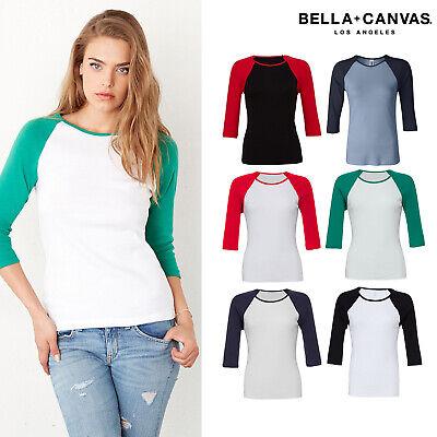 B2000 Bella Ladies Baseball Raglan 3//4 Sleeve T-Shirt  Womens TEE S 2XL  2000
