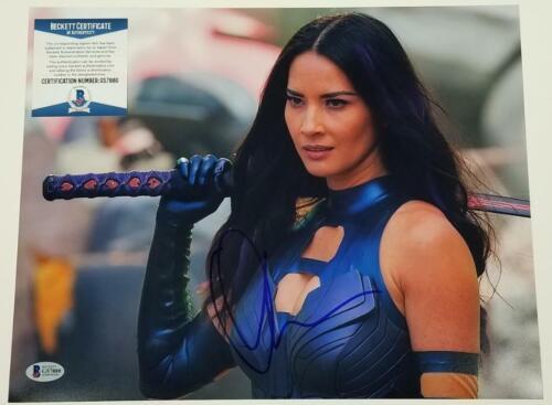 Actress OLIVIA MUNN Signed Psylocke X-Men 11x14 Photo Auto~ Beckett BAS COA
