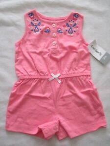 Carters-Girls-Size-Newborn-3-months-Pink-Blue-Embroidered-Romper-New