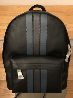 F37599 BRAND NEW MEN/'S COACH GRAHAM HEATHER GREY LEATHER BLACK BACKPACK BAG