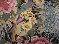 "RARE VINTAGE SANDERSON PEACOCK PARROT & BIRD OF PARADISE CURTAIN 53""L x 92""W No1"