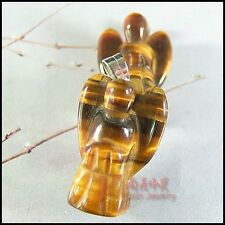 Wholesale Tiger eye's Stone Carved Angel with Wing Figurine Pendant for gift New