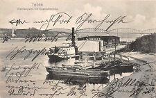 Thorn / Toruń Weichselpartie Eisenbahnbrücke, Dampfer Postkarte 1915