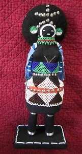 """Hand Beaded African Zulu Amachunu Matron (Makoti) Doll #3 16""""-Great Kwanzaa Gift"""