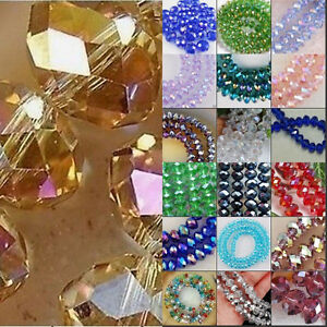 Faceted Rondelle Bicone Glass Crystal Loose DIY Beads Wholesales 468mm