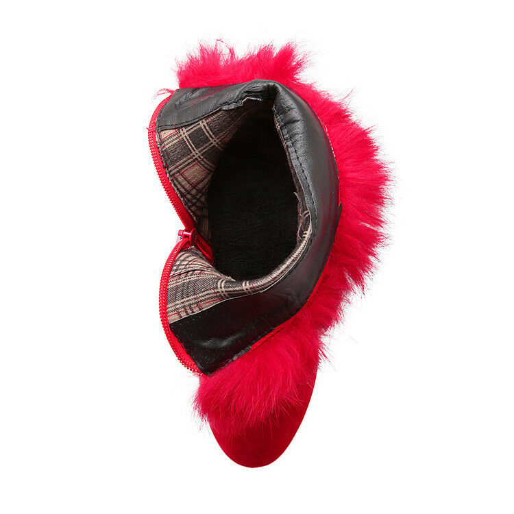 botas tacón de aguja zapatos de tacón mujer 12 rojo perlas como piel 8170