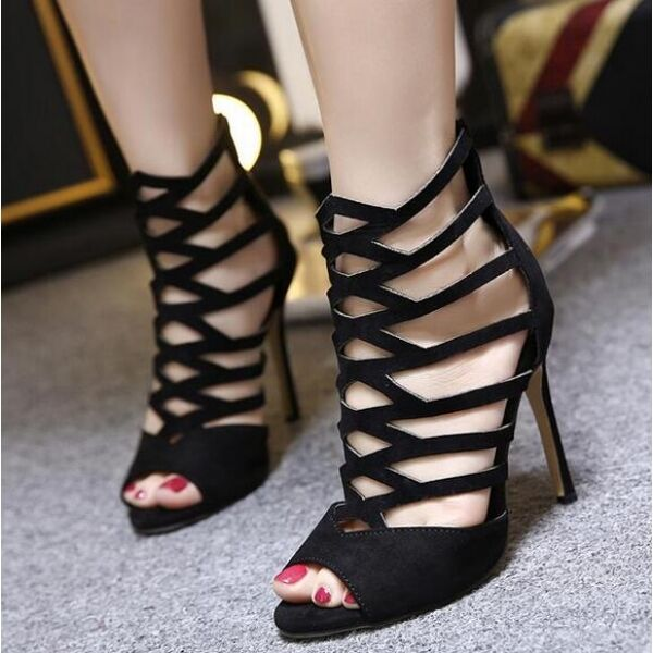 Bottines bottes sandales d'été noir femme perforé 11.5 comme cuir CW139