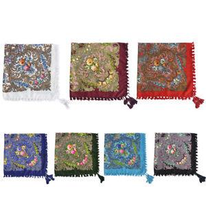 Women-Square-Floral-Fringed-Scarf-Shawl-Cotton-Wrap-Bohemia-Pashmina-With-Tassel