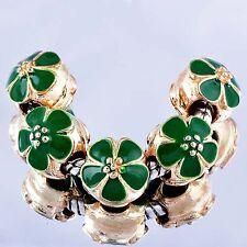 5Pcs Korean Gold Filled Green Enamel Charm Bead Loose European Bracelet
