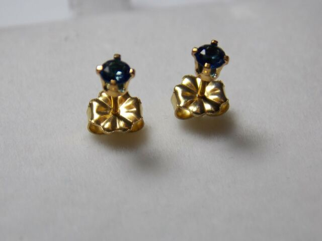 0.925 S/Silver Y/Gold Plated Stud Earrings set with 3mm Sapphire colour stone
