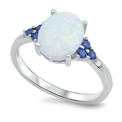 Oval White Opal & Blue Sapphire .925 Sterling Silver Ring Sizes 4-12