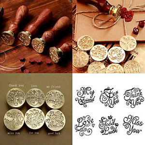 Vintage Wooden Handle Pattern Seal Wax Stamp Wedding Invitation Letter Card New