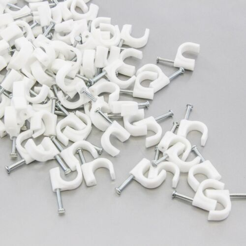 """200 Round 3//8/"""" 10 mm Cable Wire Clips Cable Cord Tie Holder Coaxial Clamps Tacks"""