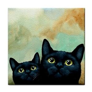 Large-Ceramic-Tile-6x6-Home-Decor-black-Cat-607-art-painting-by-L-Dumas
